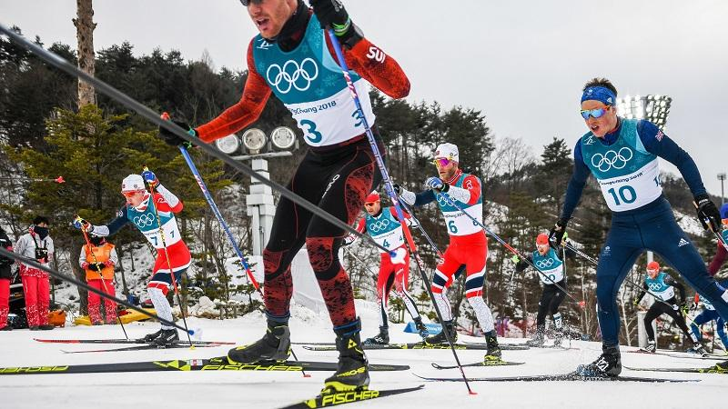 An image of competitors during a skiing race at the 2018 winter olympics